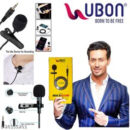 UBON CM50 Omnidirectional Condenser Microphone e mic Collar for Mobile Recording YouTube with 3 Mtr Audio Cable
