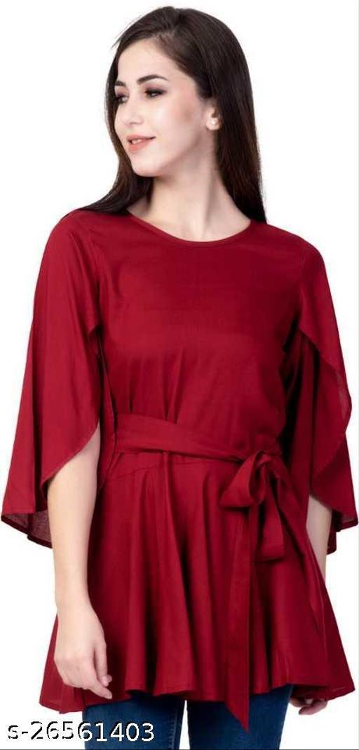 Casual Petal Sleeve Solid Women Maroon Top