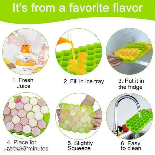 Flexible Silicone Honeycomb 37 Cavity Ice Cube Tray (CHOCOLATE MOLD) - PACK OF 1 - RANDOM COLOR