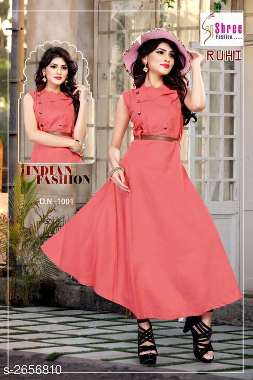 Solid Pink Calf-Length Cotton Dress