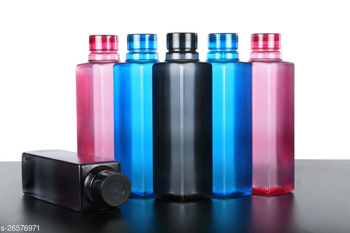 Avkar products Customers 1st Choice Square Shape Water bottle Set For Fridge,Office,Gym Set OF 6 1000 ml Bottle  (Pack of 6, Multicolor, Plastic)