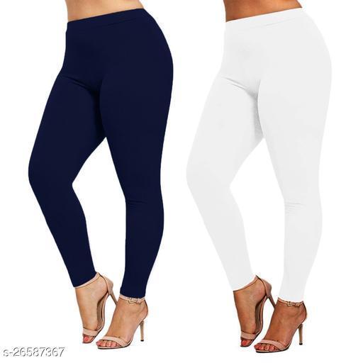 Premium Cotton Ankel Legging perfect fit NBlu & White