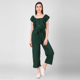 LADYANA BOTTLE GREEN SOLID JUMPSUIT