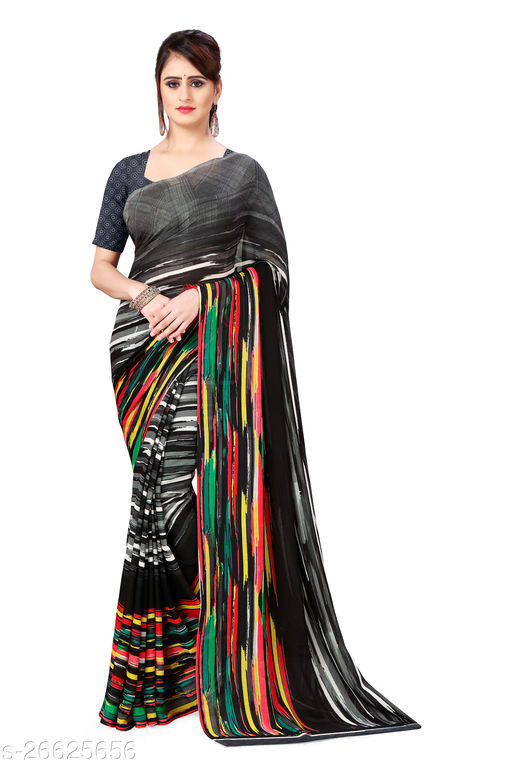 Daily Wear, Georgette Saree with blouse piece
