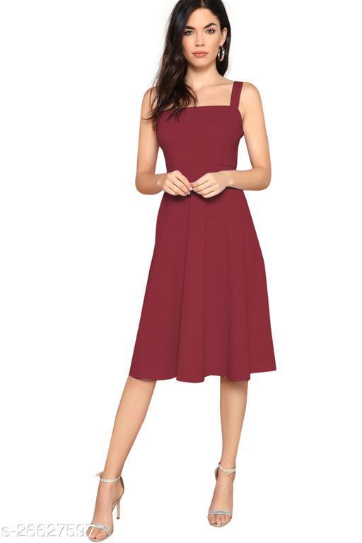 Women's Solid Teal Cotton Blend Dress