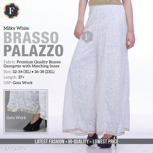 Partywear Designer Fancy Trendy Kalidaar Palazzo with Gota Milky White