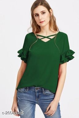 RAMA GREEN FLARE SLEEVE TOP WITH CROSS NECK