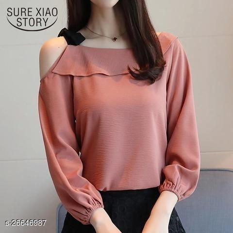 PEACH SINGLE SHOULDER TOP WITH BLACK KNOT