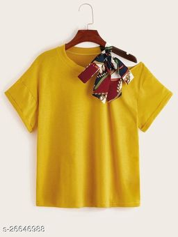 MUSTARD TEE WITH RED BORDER SCARF