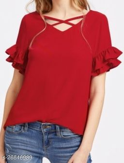 MAROON FLARE SLEEVE TOP WITH CROSS NECK