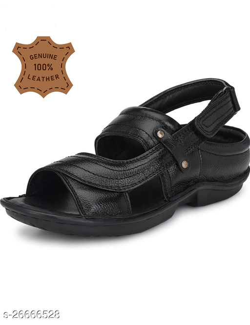 Stylish Men's Leather Black Sandals