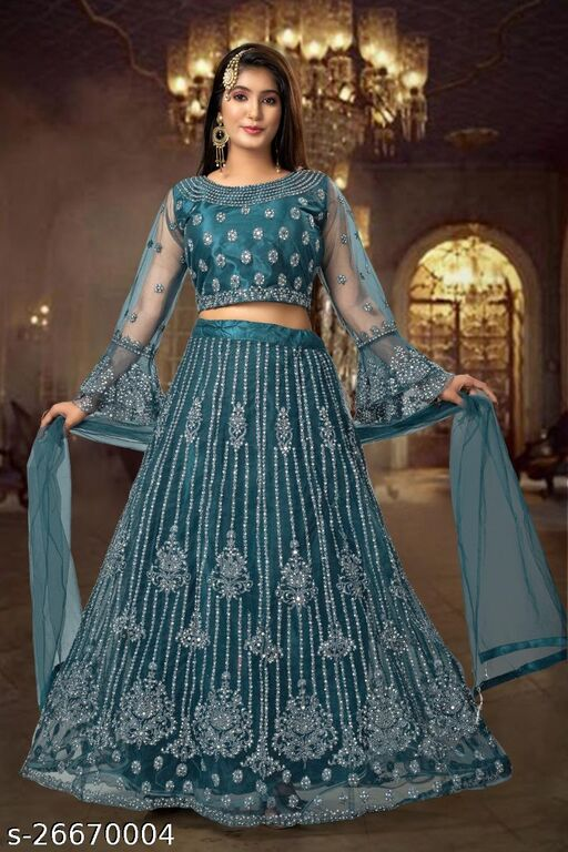 Designer Gorgeous Havevy Embroidery With Mirror Work And Bell Sleeves Fully Stitched Lehenga Choli And Dupatta Tea Blue Colour L Size