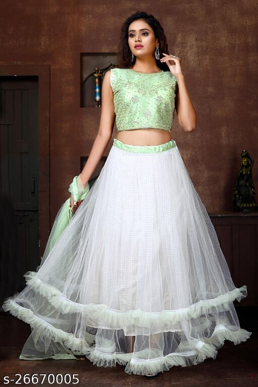 Beautiful Designer Handwork Embroidery And Due Drop Work Fully Stitched Lehenga Choli And Dupatta Light Green Colour L Size