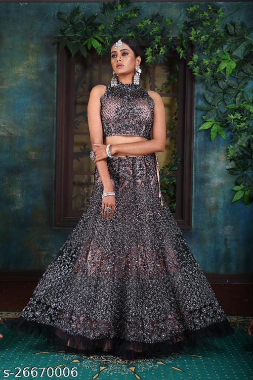 Designer Bollywood Gorgeous Heavy Embroidery With Stone Work Fully Stitched Lehenga Choli Dupatta Black Colour