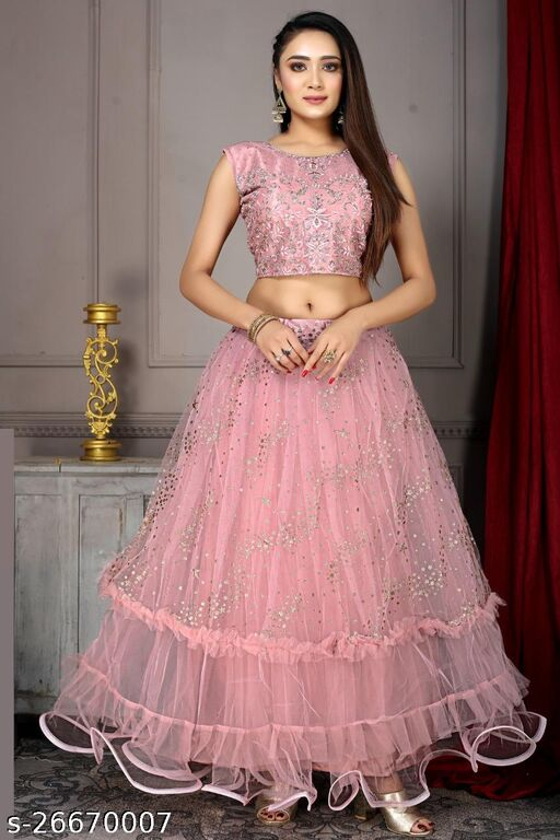 Excellent Super hit Designer Handwork Embroidery With Jari Work Fully Stitched Lehenga Choli And Dupatta Onion Peach Colour L Size