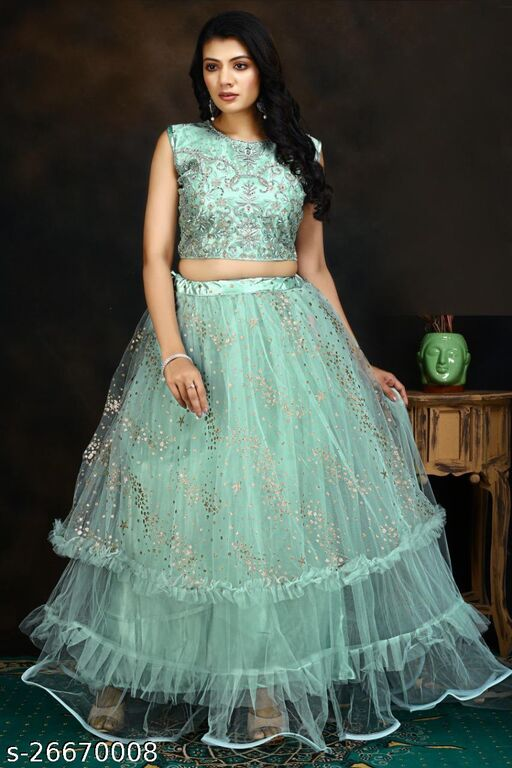 Excellent Super hit Designer Handwork Embroidery With Jari Work Fully Stitched Lehenga Choli And Dupatta  Grey Colour L Size