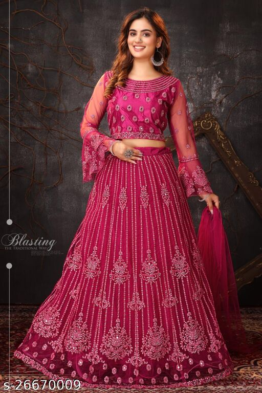 Designer Gorgeous Havevy Embroidery With Mirror Work And Bell Sleeves Fully Stitched Lehenga Choli And Dupatta Dark Pink, Rani Colour L Size