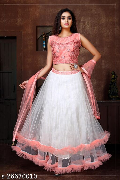 Beautiful Designer Handwork Embroidery And Due Drop Work Fully Stitched Lehenga Choli And Dupatta Peach Colour L Size