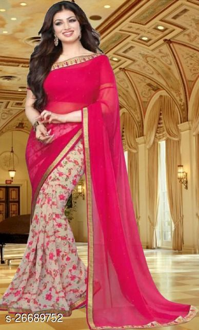 Daily wear Georgette fancy saree with Georgette Separate Blouse Piece with best Quality