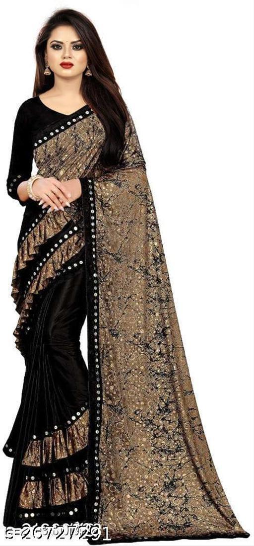 Bittu Fashion Women's Lycra Ruflle Frill Geometric Printed Half Half Party Wedding Fashion Sarees Black Color