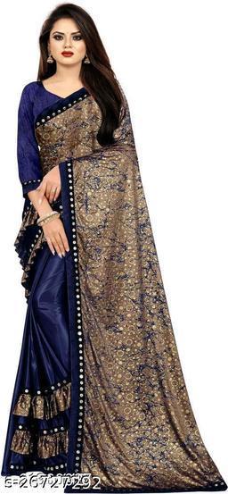 Bittu Fashion Women's Lycra Ruflle Frill Geometric Printed Half Half Party Wedding Fashion Sarees Navy Blue Color