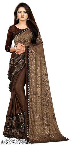 Bittu Fashion Women's Lycra Ruflle Frill Geometric Printed Half Half Party Wedding Fashion Sarees Brown Color