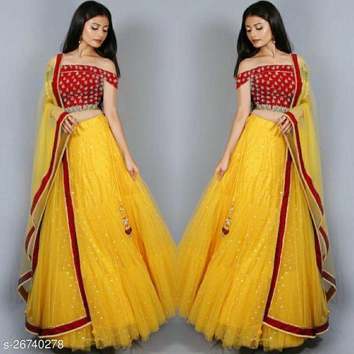 Maliya Fabulous Yellow-Red Colour Net Semi-Stitched Lehenga Choli