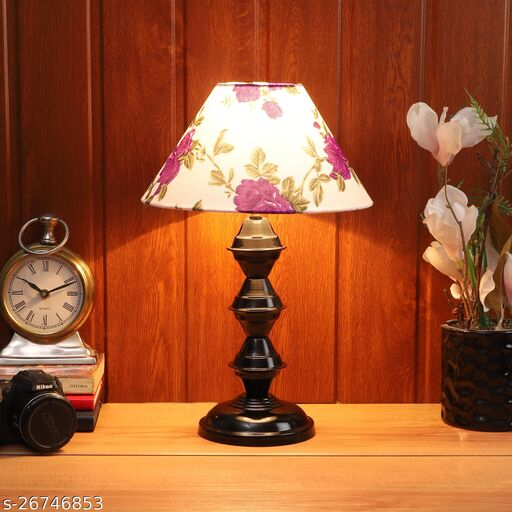 Purple & White  Shade Table Lamp With Black Base