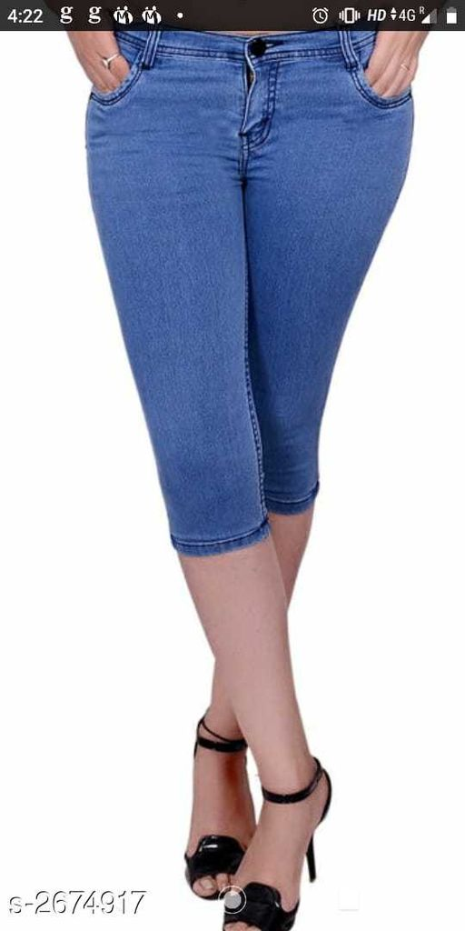 Capris  Ravishing Denim Women's Capri  *Fabric* Denim  *Waist Size* 36 in, 38 in, 40 in  *Length* Up To 36 in  *Type* Stitched  *Description* It Has 1 Piece Of Women's Capri  *Pattern* Solid  *Sizes Available* 30, 32, 34, 36, 38, 40 *    Catalog Name: Alexa Ravishing Denim Women's Capris Vol 6 CatalogID_361946 C79-SC1037 Code: 914-2674917-