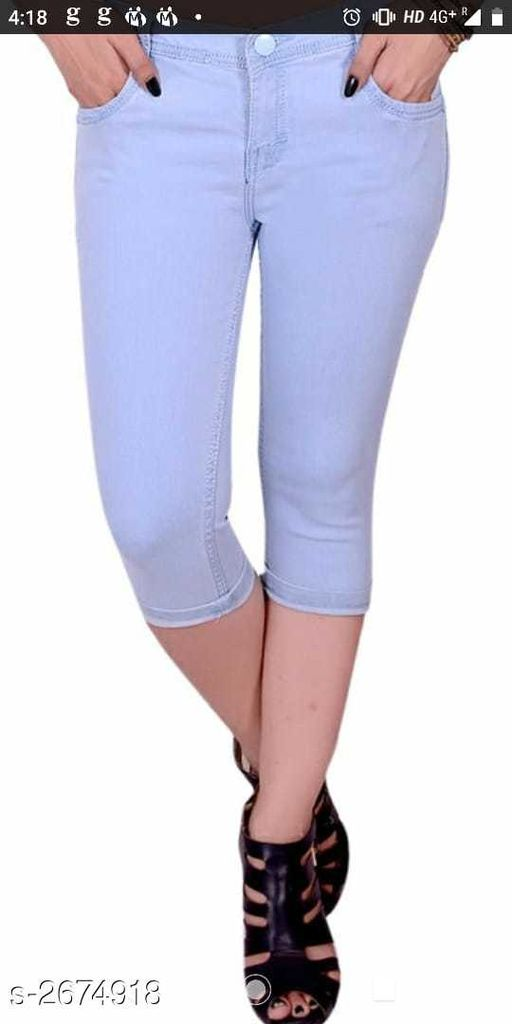 Capris  Ravishing Denim Women's Capri  *Fabric* Denim  *Waist Size* 36 in, 38 in, 40 in  *Length* Up To 36 in  *Type* Stitched  *Description* It Has 1 Piece Of Women's Capri  *Pattern* Solid  *Sizes Available* 30, 32, 34, 36, 38, 40 *    Catalog Name: Alexa Ravishing Denim Women's Capris Vol 6 CatalogID_361946 C79-SC1037 Code: 914-2674918-