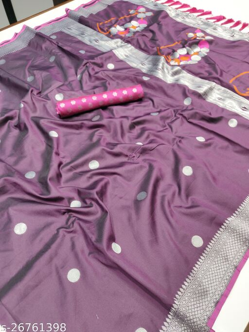 Wine Paithani Silver Zari Woven Soft Silk Saree