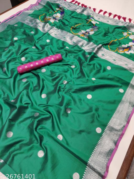Teal Paithani Silver Zari Woven Soft Silk Saree