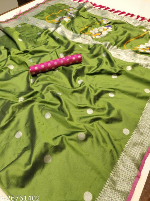 Green Paithani Silver Zari Woven Soft Silk Saree
