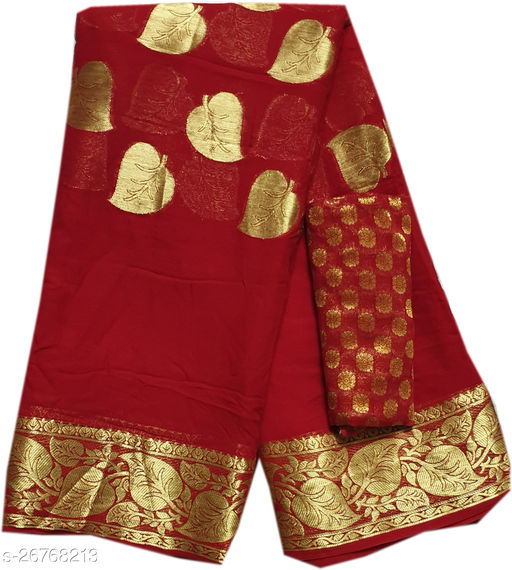 M S CENTER,Women's viscos pure georget saree with blouse peice