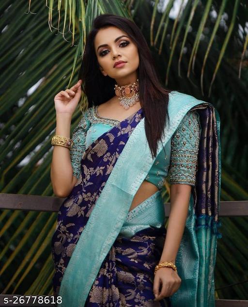 Beautiful Kanjivaram Art Silk Zari Weaving Saree With Unstitched Running Blouse For Women Wedding Wear Party Wear Festive Wear Sari