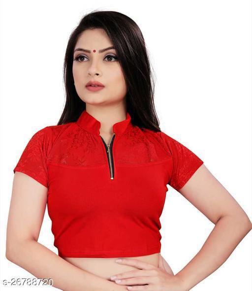 Vendola Women's Cotton Lycra Solid Half Sleeve, Zip Neck Blouse