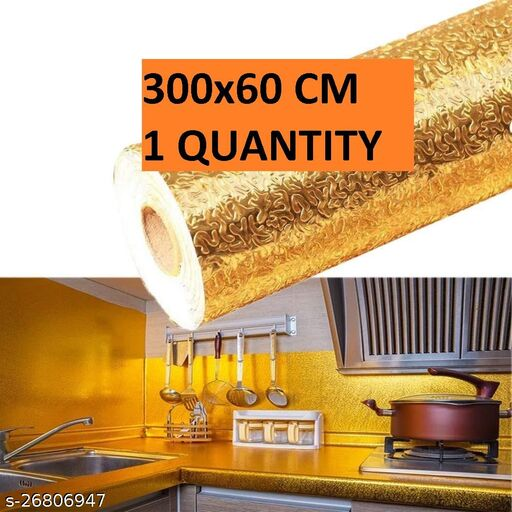Amazing 3m Aluminum Foil Stickers Roll Golden, Oil Proof, Kitchen Backsplash Wallpaper Self-Adhesive Wall Sticker Anti-Mold and Heat Resistant for Walls Cabinets Drawers and Shelves - Golden (300X60) cm