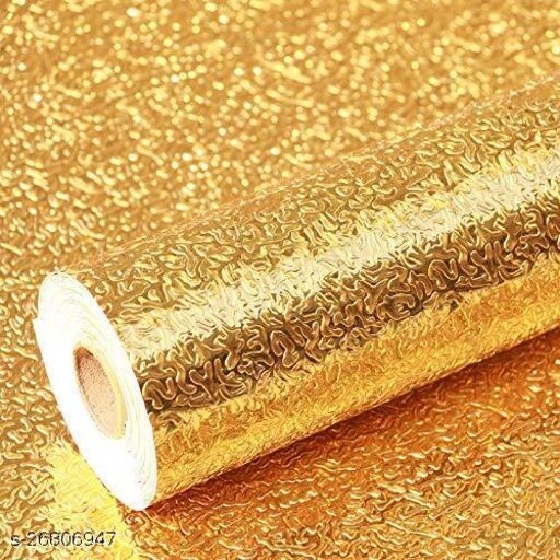 Amazing 3m Aluminum Foil Stickers Roll Golden, Oil Proof, Kitchen Backsplash Wallpaper Self-Adhesive Wall Sticker Anti-Mold and Heat Resistant for Walls Cabinets Drawers and Shelves - Golden (300X40) cm