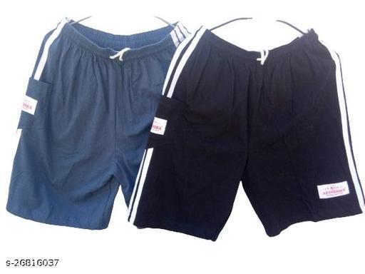 Men's I Boys Plain Relaxed Fit Cotton/Hosiery Barmuda/Shorts/Nikar - Pack of 2