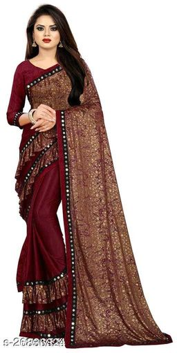 Heer Enterprise Women's Lycra Ruflle Frill Geometric Printed Half Half Party Wedding Fashion Sarees Red Color