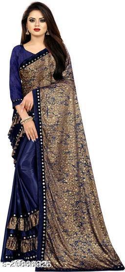 Heer Enterprise Women's Lycra Ruflle Frill Geometric Printed Half Half Party Wedding Fashion Sarees Navy Blue Color