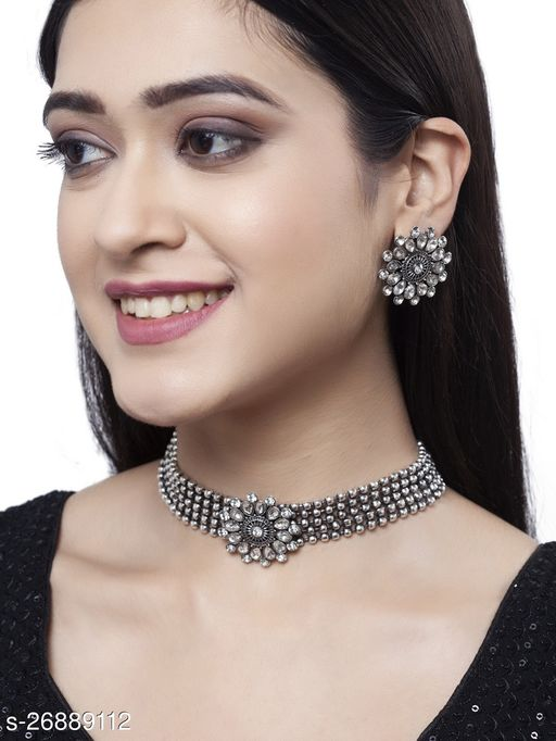 Oxidized Silver Color Necklace Set With Earrngs
