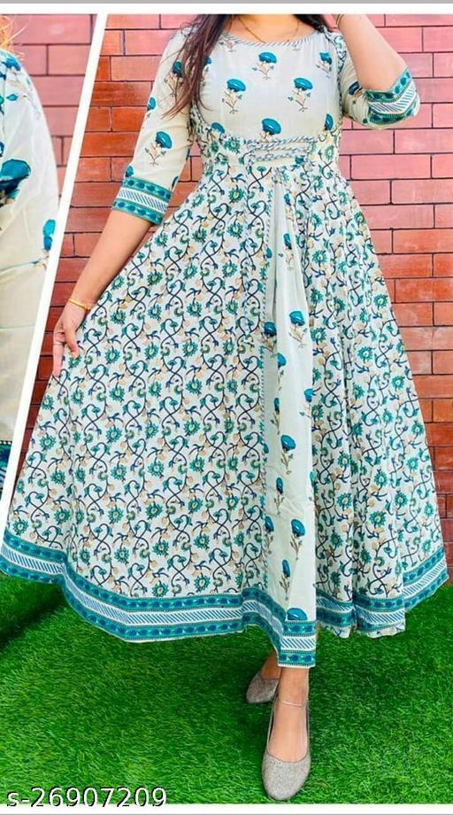 Women Printed Rama Green Anarkali Kurti