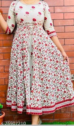 Women Printed Red Anarkali Kurti
