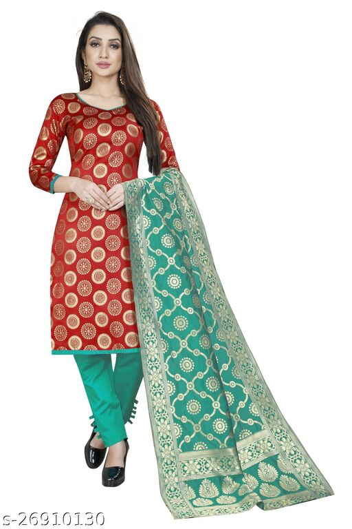 Designer daily wear jacquard woven banarasi cotton red colour unstitched dress material