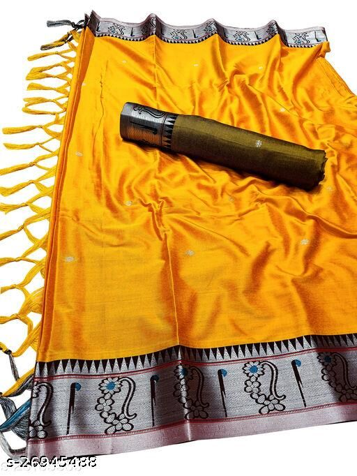 Nath Muniya Border Traditional Paithani Silk Sarees With Contrast Blouse Piece (Mango & Silver)