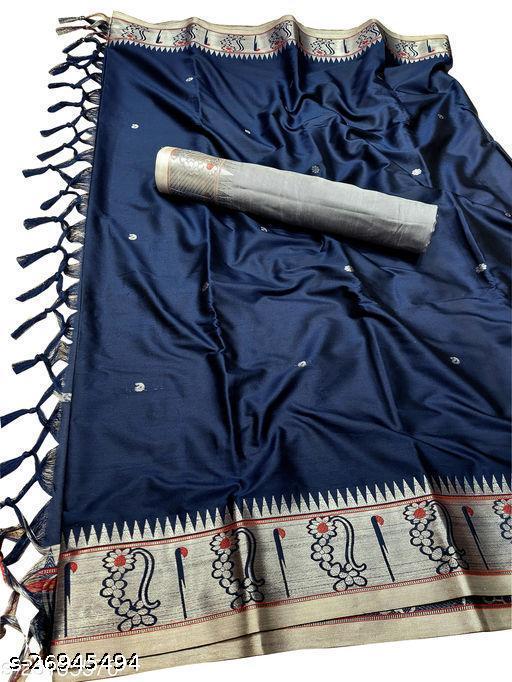 Nath Muniya Border Traditional Paithani Silk Sarees With Contrast Blouse Piece (Navy & Silver)