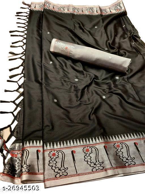 Nath Muniya Border Traditional Paithani Silk Sarees With Contrast Blouse Piece (Black & Silver)