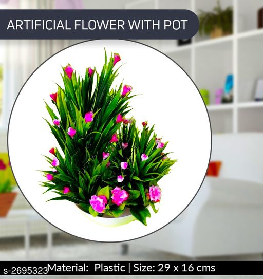 Artificial Flowers and Plants Designer Atrificial Flower With Pot  *Material* Plastic  *Size (H X W) * 29 cm X 16 cm  *Description* It Has 1 Piece Of Artificial Flower With Pot  *Sizes Available* Free Size *    Catalog Name:  Attractive Designer Atrificial Flower With Pots Vol 1 CatalogID_364962 C127-SC1610 Code: 533-2695323-
