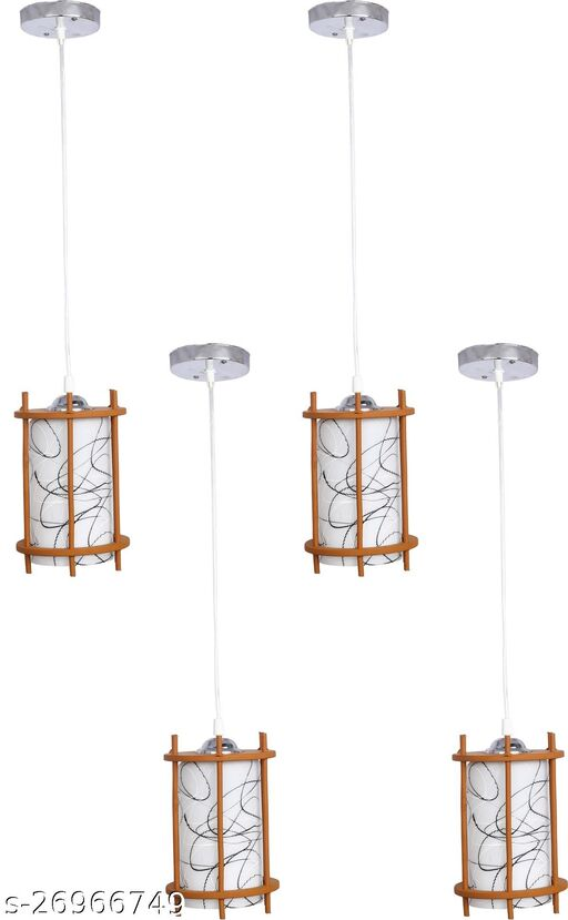 Somil styles Pendant Hanging Ceiling Lamp Light With styles Wooden Box & All Fitting (Set Of Four)